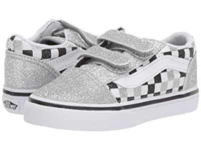 Vans Kids Old Skool V (Infant/Toddler) ((Glitter Checkerboard) Silver/True White) Girls Shoes