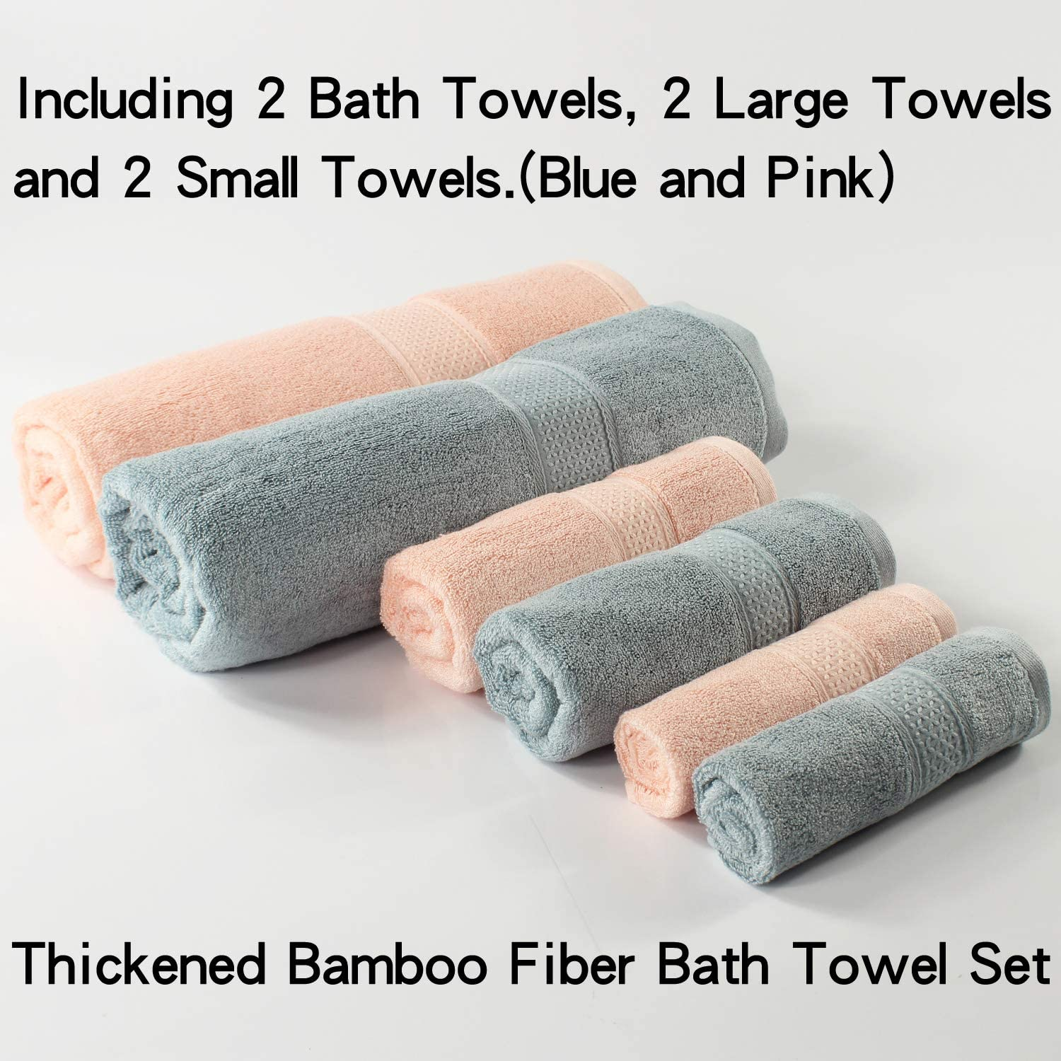 Greenf Home Bath Towels Bamboo Cotton 6-Piece Towel Set Blue/&Pink Ultra Absorbent and Eco-Friendly - Natural 2 Bath Towels, 2 Hand Towels and 2 Square Towels