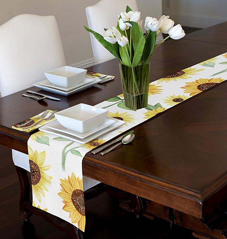 A LuxeHome Yellow Green And White Sunflower Boho Floral Watercolor Farmhouse Tablerunner Mat Topper Dining Room Kitchen Round 12 X 90