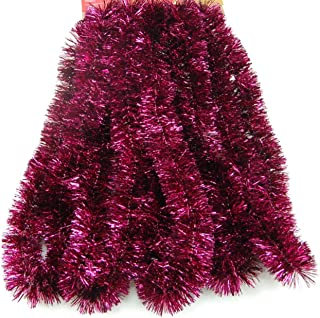 Fix Find Elegant Hanging Holiday Tinsel Garland 2.25-inches Thick x 15-feet - Burgundy