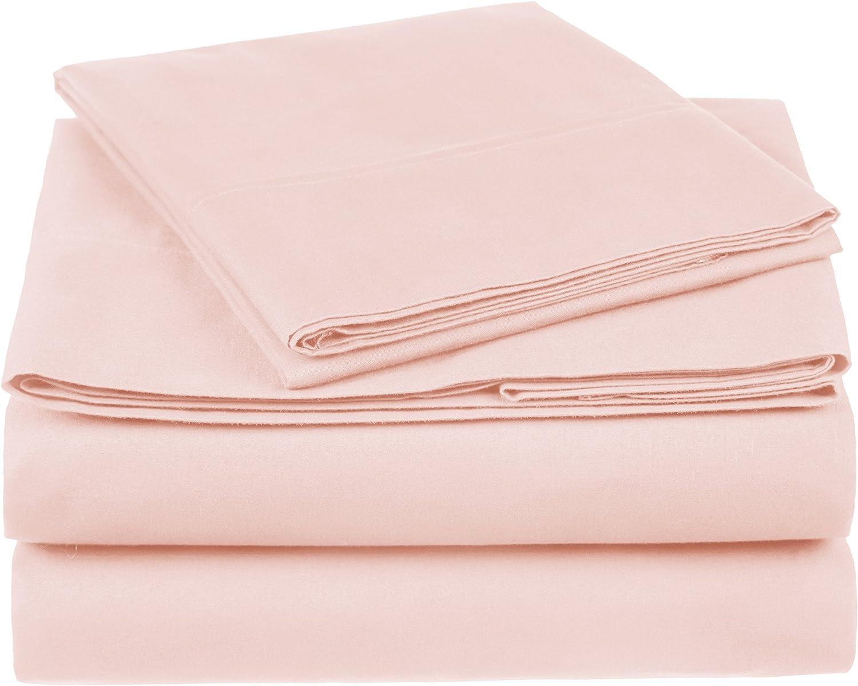 Amazon Brand Pinzon 300 Thread Count Organic Pink Bed Sheet