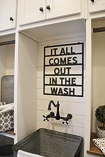 DKISEE Plaque en métal avec inscription « It All Is Out In The Wash » - Décoration de buanderie - Moderne - 61 cm - Noir -...