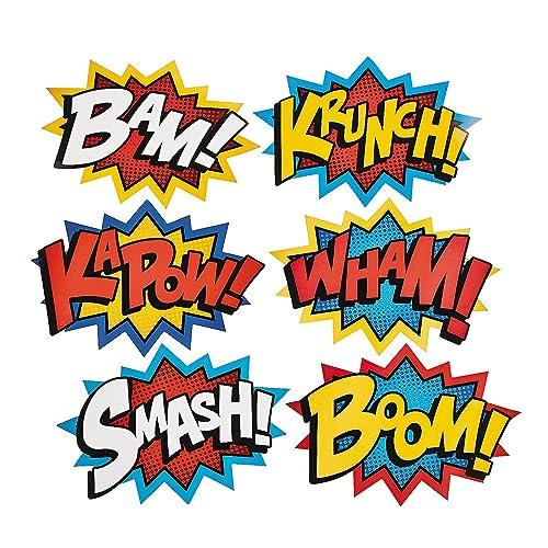 Cardboard Jumbo Superhero Word Cutouts Size 26 X 18