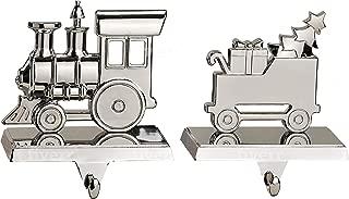 Klikel Christmas Train Stocking Hanger for Mantel | Set of 2 | Silver Metal Stocking Holder with Hook