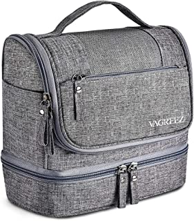 Toiletry Bag, VAGREEZ Upgraded Hanging Travel Toiletry Organizer Kit with Heavy-duty Zippers Waterproof Comestic Bag Dop Kit for Men or Women (Grey)