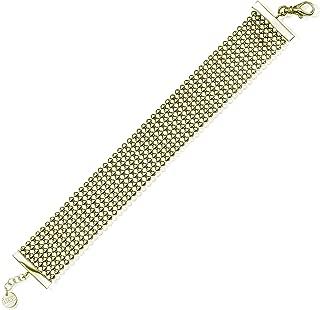 COLLECTION BIJOUX 100 18K Gold Electro Plated Perline 24mm Wide Bracelet, 7.5