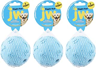 JW Pet 3 Pack of Giggler Balls, Large, Assorted Colors, Laughing Dog Toy