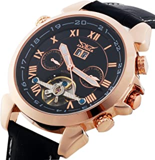 Gute Jaragar Luxury Auto Mechanical Watch 4 Hands Date Tourbillon Rose Gold Wrist Watch for Mens