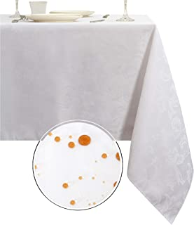 Obstal 210GSM Rectangle Table Cloth, Water Resistance Microfiber Tablecloth, Decorative Fabric Table Cover for Outdoor and Indoor Use (White,60 x 84 Inch)