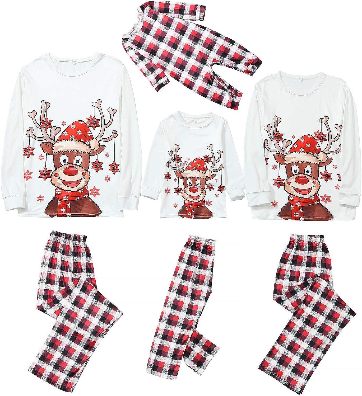AODONG Christmas Sleepwear for Family Set Matching Christmas Pajamas Winter Printed Crew Neck Long Sleeve Top Loungewear Nightwear Sleepwear