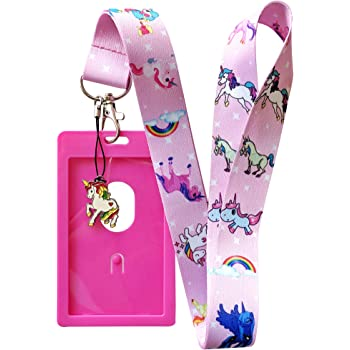 Blue Cute Unicorn Lanyard w//ID Badge Holder and Acrylic Charm Various Colors