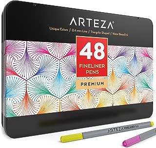 Arteza Fineliner Fine Point Pens, Fine Tip Markers 48 Assorted Colors (0.4mm Tips, Set of 48)