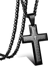 Jstyle Stainless Steel Black Cross Pendant Necklace for Men Lord's Prayer Necklace Heavy Wheat Chain 22 24 30 Inch