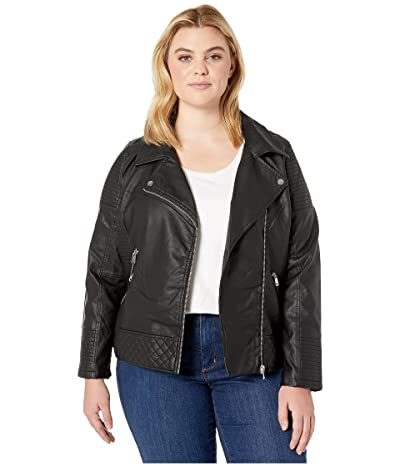 YMI Snobbish Plus Size Faux Leather Jersey Lined Moto Jacket (Black) Women