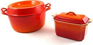 Le Creuset Flame Enameled Cast Iron Doufeu and Stoneware Pateテリーヌ調理器具セット