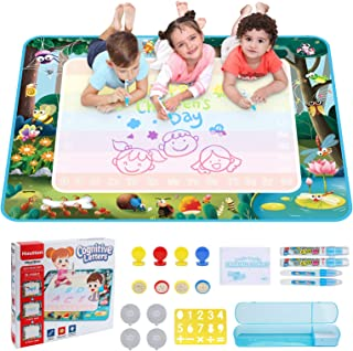 Hautton Magic Water Doodle Mat, Large Drawing Painting Writing Board with Accessories Educational Learning Toy Gift for Ag...