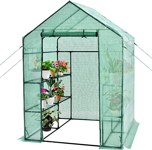 """2021 Giantex Walk-in Greenhouse, Gardening Plant Tent with Roll-Up Zippered Front Door and 2 online Windows, Indoor sale & Outdoor Weather-Proof Canopy Cover, 2 Tiers and 8 Shelves, Anchors Included (56""""Lx 56""""Wx 77""""H) outlet sale"""