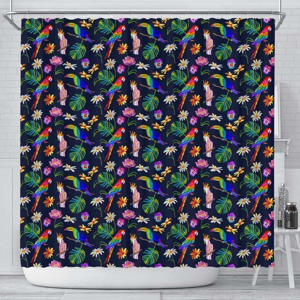 Lovely 5 ☆ popular Parrot Floral Shower Print Curtains Daily bargain sale