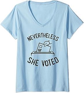 Womens Nevertheless She Voted Cute Feminist Gift Women History V-Neck T-Shirt