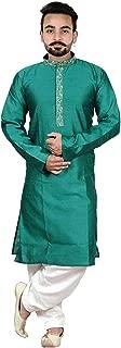 Mens Indian Asian Teal Kurta Cream Salwar kameez BOLLYWOOD fashion sherwani 814