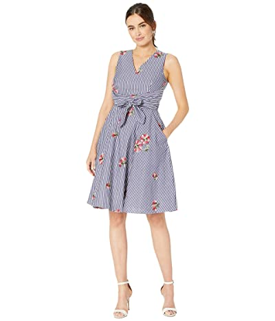 Tahari by ASL Cotton Wrap Pinstripe Dress with Embroidery (Floral Stripe) Women
