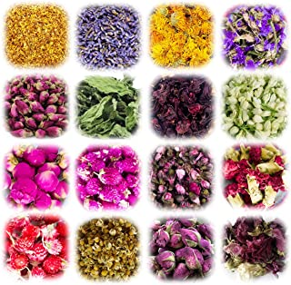 16 Bags Natural Dried Flowers Herbs Kit for Candle Soap Resin Bath Bombs Making, Bath, Lip Gloss,DIY Art Crafts, Including...