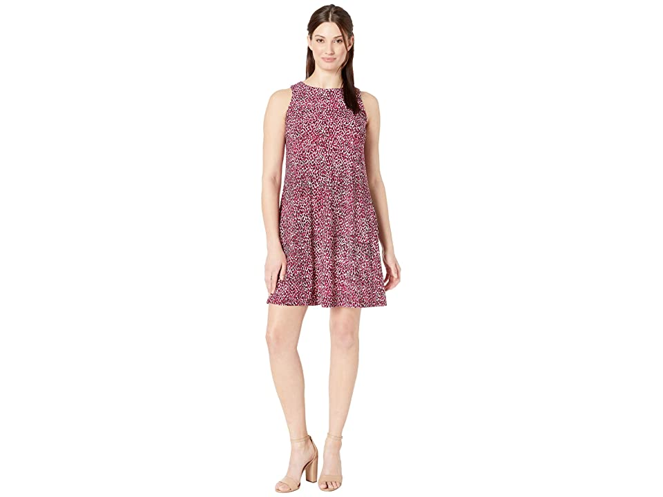 Nine West Spotted Ity Cap Sleeve Madelyn Dress (Ivory/Raspberry Multi) Women
