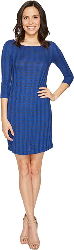Three Dots - 3/4 Sleeve British Neck Dress