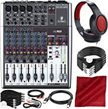 Behringer XENYX 1204USB 12-Input USB Audio Mixer with Samson Headphones and Assorted Cables Deluxe Bundle
