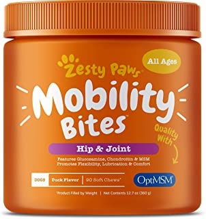 Zesty Paws Glucosamine for Dogs - Hip & Joint Health Soft Chews with Chondroitin & MSM - Functional Dog Supplement for Pet...