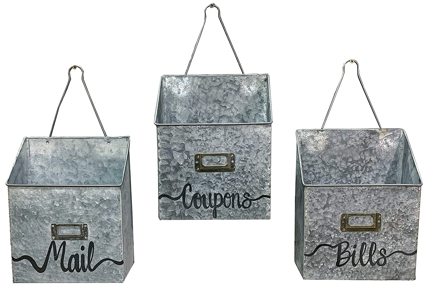 MAILBOX ORGANIZER Special sale item Brand Cheap Sale Venue WALL BUCKET Tin Distressed Hanger with Rustic