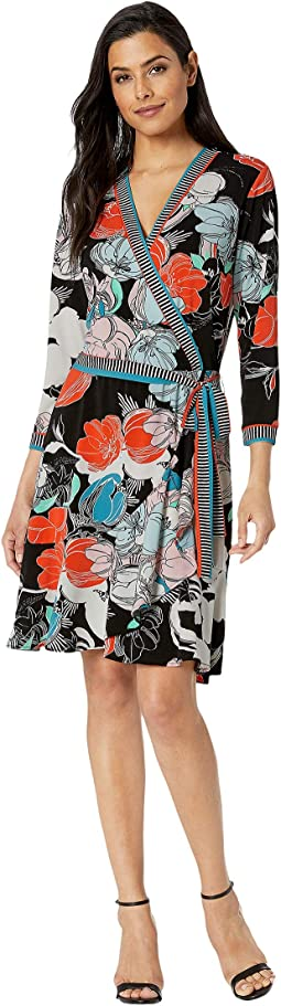 Mixed Media Floral Border Jersey Faux Wrap Dress