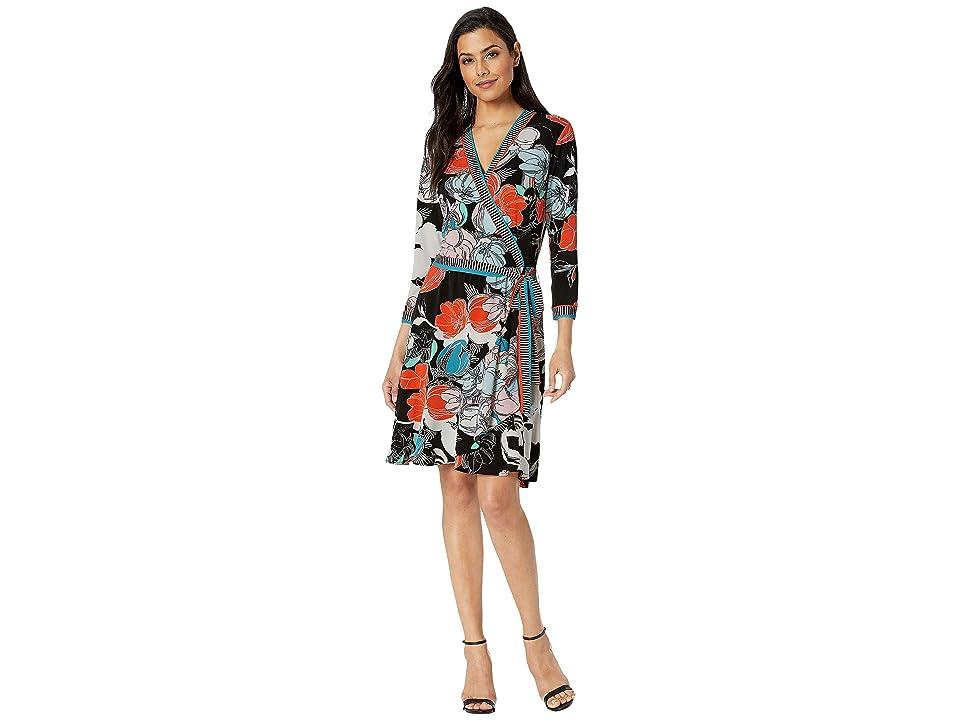 eci Mixed Media Floral Border Jersey Faux Wrap Dress (Black/Ivory) Women