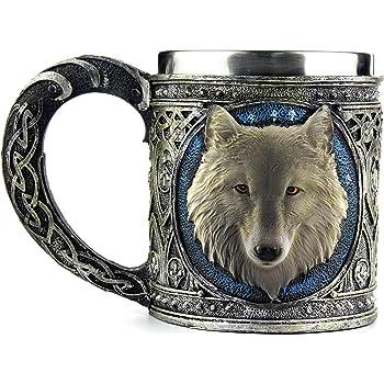 Wolf Head Mug 3D Resin Stainless Steel Water Cup Mugs Animal Drinking Mug Supply
