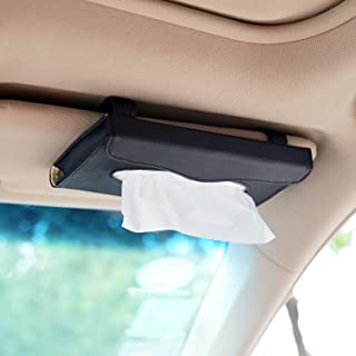 eJiasu Car Tissue Holder, Sun Visor Napkin Holder, Car Visor Tissue Holder, PU Leather Backseat Tissue case Holder for car,Vehicle(Black)
