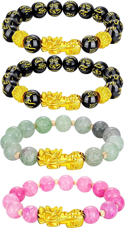 4 Pcs Feng Shui Black Obsidian Wealth Bracelet for Men Women Fen