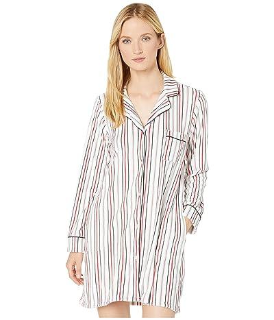 Donna Karan Stretch Velour Sleepshirt (Winter White Stripe) Women