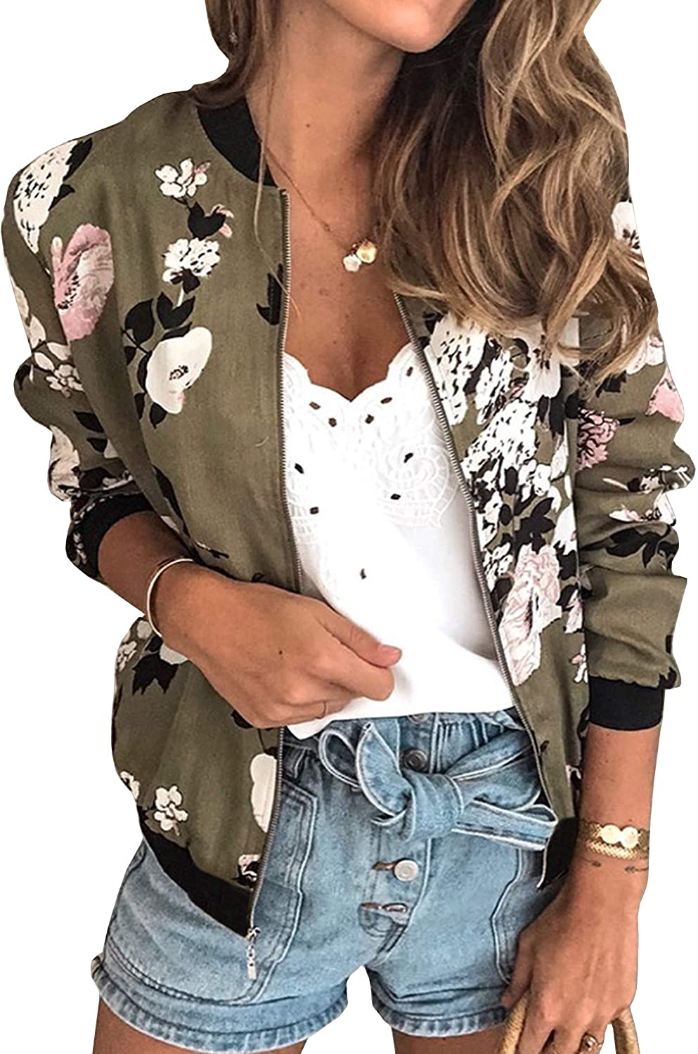 ECOWISH Womens Jackets Lightweight Zip Up Casual Inspired Bomber Jacket Leopard Coat Stand Collar Short Outwear Tops