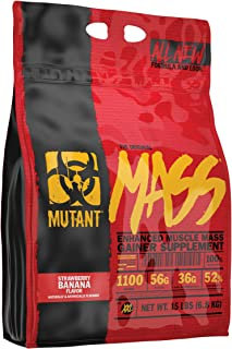 MUTANT MASS Weight Gainer Protein Powder with Whey, and Casein Protein Blend for High-Calorie Workout Shakes, Smoothies, and Drinks, 15 lb - Strawberry Banana