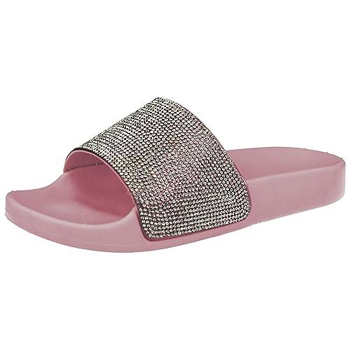 fc0468845e7ada Ladies Girls ELLA Diamante Fashion Sliders Open Toe Flat Slip On Sandals  Mules Size 10-