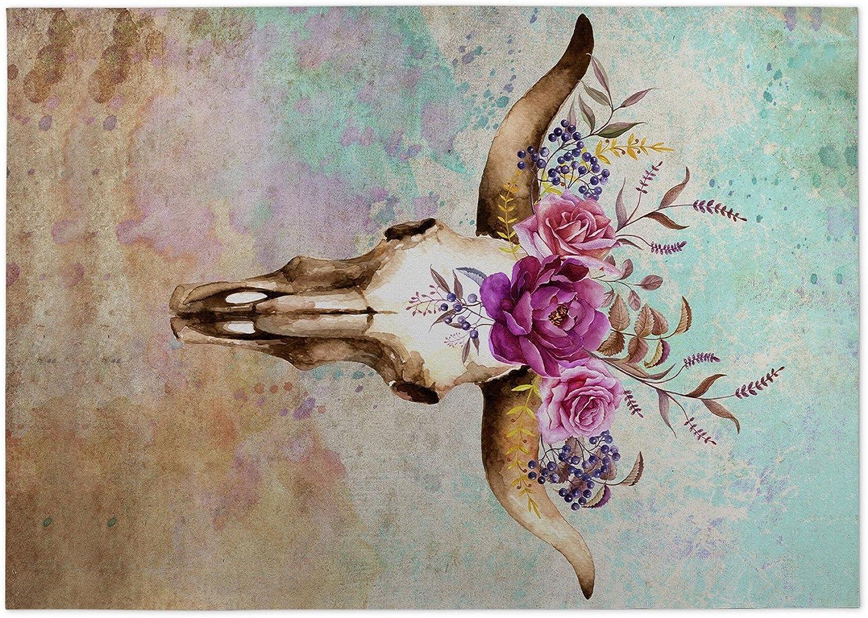 KAVKA Designs Deer Skull Indoor-Outdoor Floor Mat, (bluee Tan Ivory Green Purple) - Navajo Collection, Size  24x36x0.2 - (RVIAVC1606FM23)