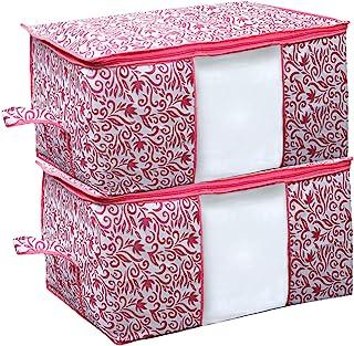 Kuber Industries Leaf Design Non Woven 2 Pieces Underbed Storage Bag, Storage Organiser, Blanket Cover (Pink)-CTKTC21202