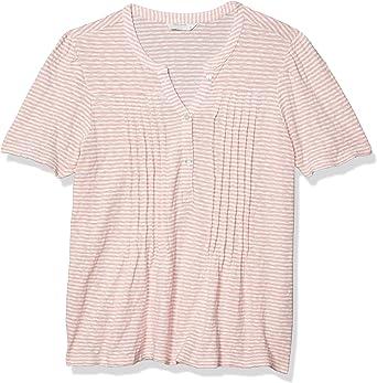Lucky Brand Women's Short Sleeve Button Knit Seersucker Top