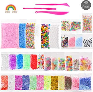 40 Pack Slime Kit Including Fishbowl Beads, Foam Balls, Fruit Slices, Google Eyes, Glitter Star Sequins, Fake Candy, Pearls, Resin Windmill, Sugar Paper and Slime Tools (Not Contain Slime)