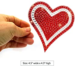Sparkle Rider Rhinestone Decal Stickers Heart-Shape - Unique Girly Accessory Gift for Her Women Wedding - Waterproof Bling Decor for Car Motorcycle Helmet Wall Window (4.5 inch Red/Silver)