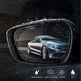 Zosam 2PCS Anti Fog Rainproof Rearview Mirror Film, Waterproof Anti Glare Mist Scratch, Drive Safely HD Clear Nano Film, Repel Water Car Mirror Side Window Protective Membrane (Oval 5.9x3.9inches)