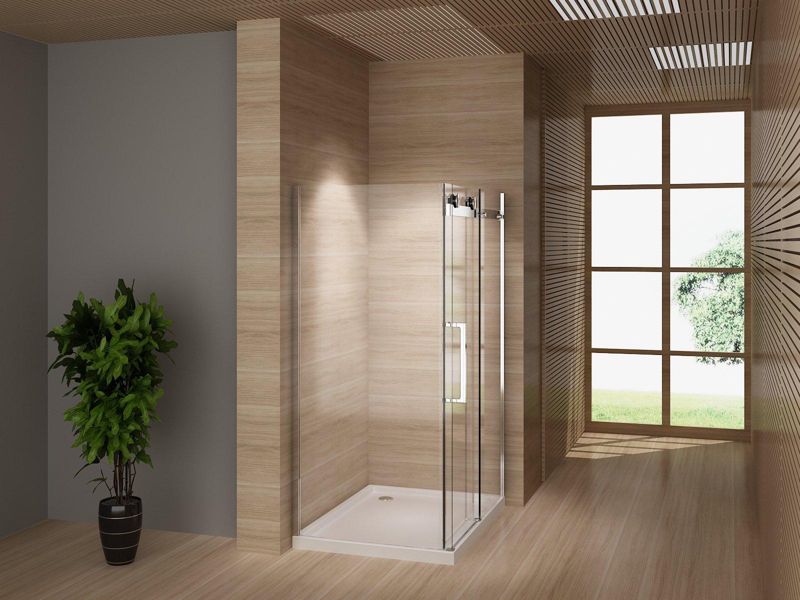 Cabina de ducha 120 x 80 Mampara de ducha puerta corredera con ducha Taza templado de 8 mm con ruedas: Amazon.es: Bricolaje y herramientas