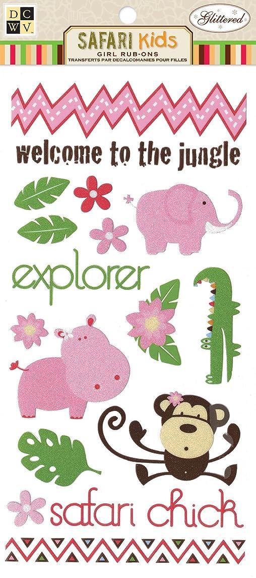 DCWV CP-012-00064 Rub on Girl Safari Kids Glitter