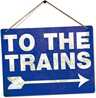 to The Trains - Blue Vintage Steam Tin Sign Metal Sign TIN Sign 7.8X11.8 INCH