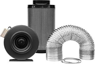 SunStream 4 Inch 203 CFM Inline Fan, 4 Inch Carbon Filter and 8 Feet of Ducting Combo for Grow Tent Ventilation